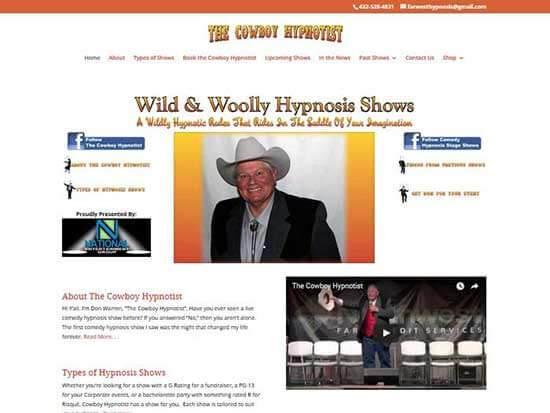 WordPress Website:  The Cowboy Hypnotist