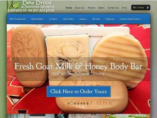 WordPress Website:  Dew Drops Soap