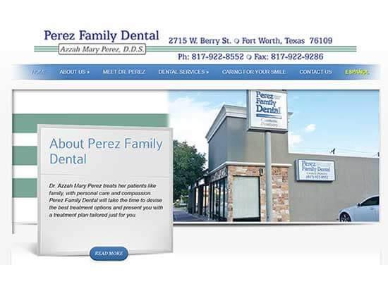WordPress Website:  Perez Family Dental