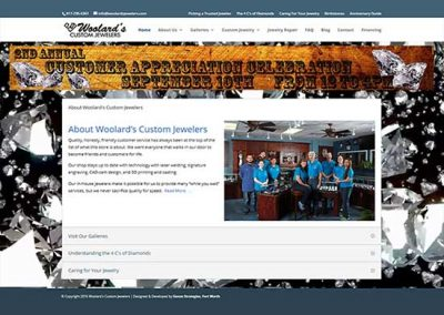 WordPress Website:  Woolard's Custom Jewelers