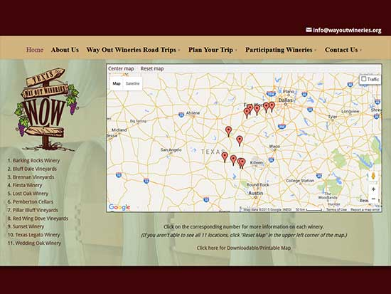 WordPress Website:  Way Out Wineries