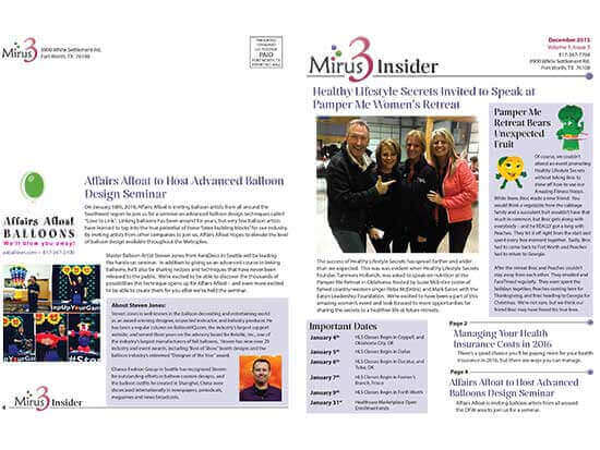 Marketing Materials:  Mirus3 Newsletter